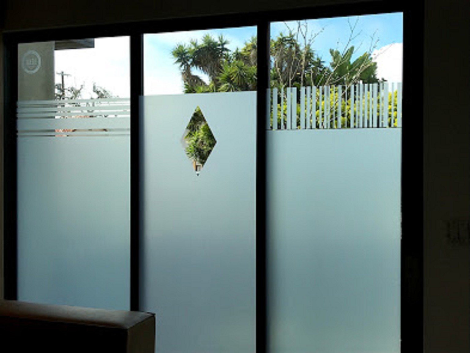 Privacy film on glass